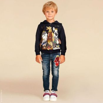 Dolce Gabbana Junior Boys King of the Dogs Sweatshirt & Dog Patch Jeans for Summer 2018