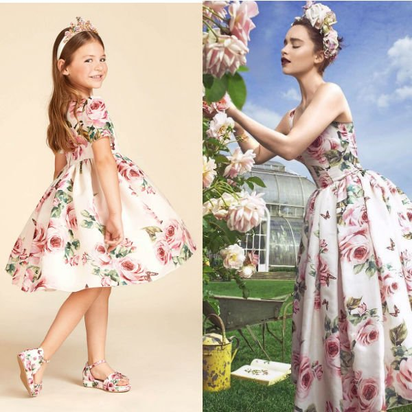 EMILIA CLARKE – DOLCE & GABBANA GIRLS MINI ME ROSE FARFALLE SILK DRESS