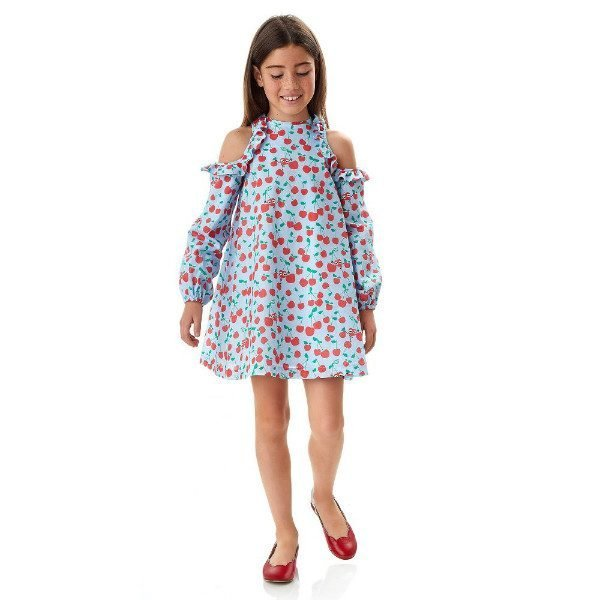 FENDI Blue Peek a Boo Shoulder Cherry Dress