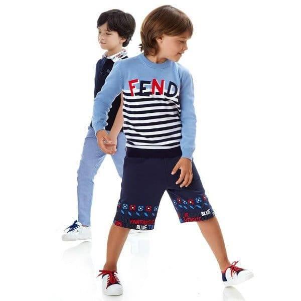 FENDI Boys Blue Stripe Logo Sweater Bandana Print Shorts Spring Summer 2018
