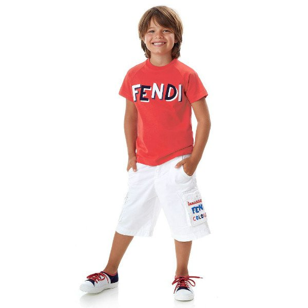 FENDI Boys Red Cotton Logo T-Shirt White Shorts Spring Summer 2018