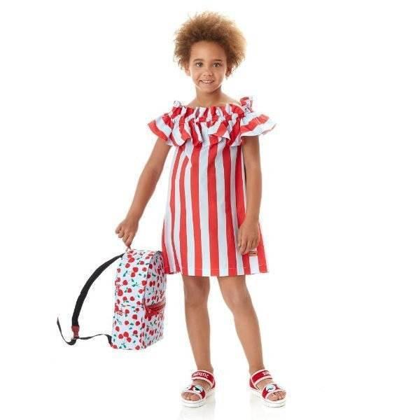 FENDI Girls Blue & Red Striped Dress for Spring Summer 2018