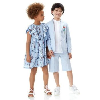 Fendi Girls Japanese Floral Print Dress Boys Blue Short Suit for Spring Summer 2018