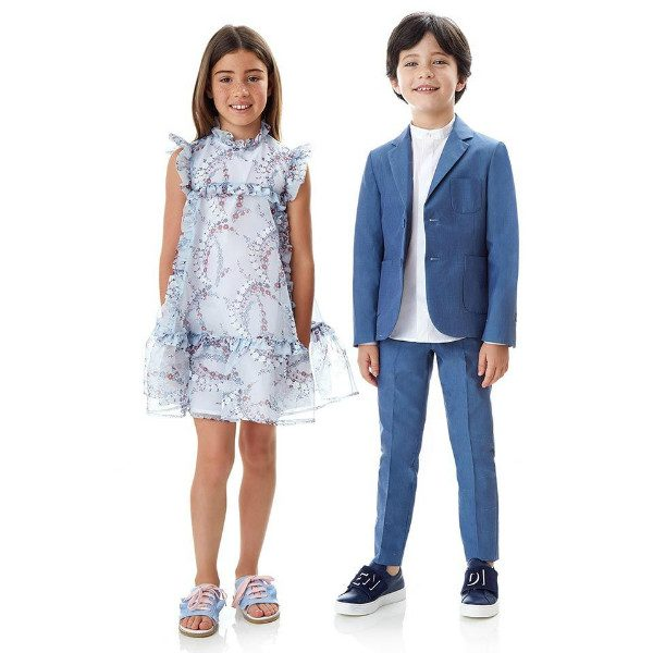 Fendi Girls Pale Blue Silk Floral Dress Boys Blue Suit Spring Summer 2018