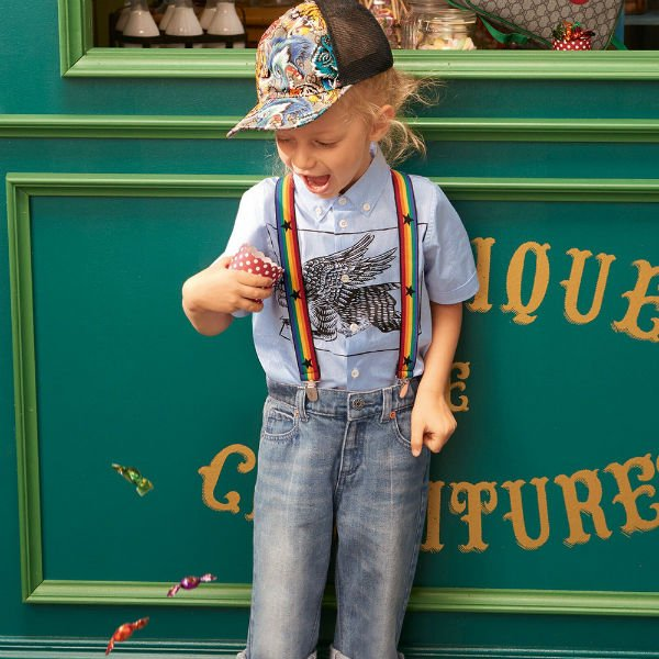 GUCCI BOYS BLUE WINGED TIGER SHIRT & JEANS
