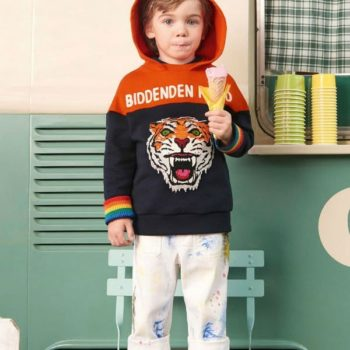 GUCCI Cotton Paint Print Overalls Tiger Blue Orange Sweatshirt Spring Summer 2018