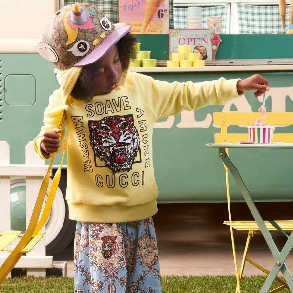 GUCCI Girls Yellow Amore Sweatshirt Blue Floral Tiger Print Pants Spring Summer 2018