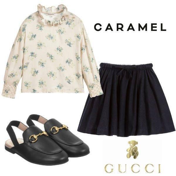 Harper Beckham Wears Caramel Outfit Gucci Shoes