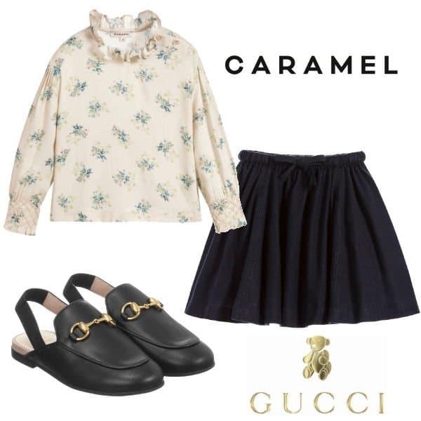 576f84f5c Harper Beckham - Caramel Shirt, Skirt & Gucci Shoes   Dashin Fashion