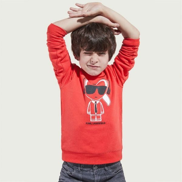 KARL LAGERFELD KIDS Boys Coral Red Sweatshirt Spring Summer 2018