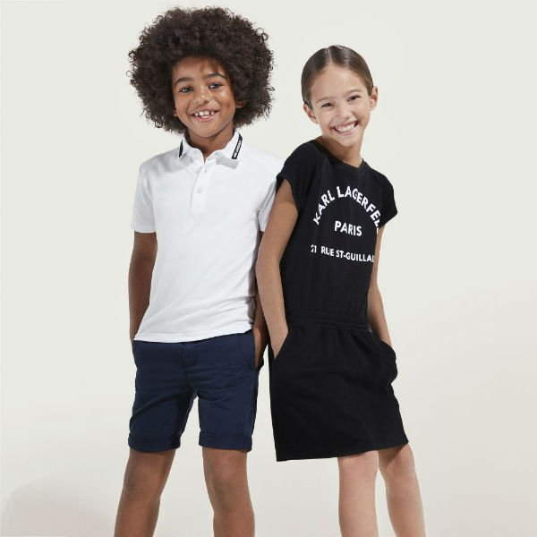 KARL LAGERFELD KIDS Girls Black Jersey Dress Boys White Polo Shirt