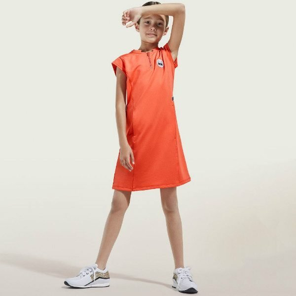 KARL LAGERFELD KIDS Girls Orange Jersey Dress Choupette Logo Spring Summer 2018