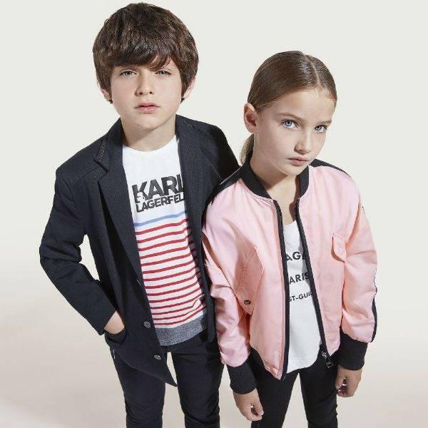 KARL LAGERFELD KIDS Girls Pink Varsity Jacket Boys Striped Logo T-Shirt