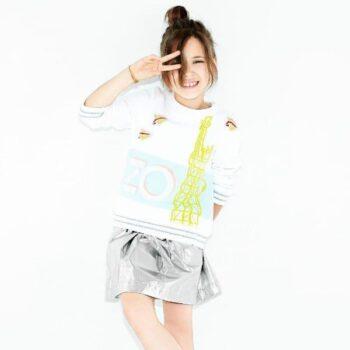 KENZO KIDS Girls White Paper Plane Eifel Tower Sweatshirt Metallic Skirt Spring Summer 2018