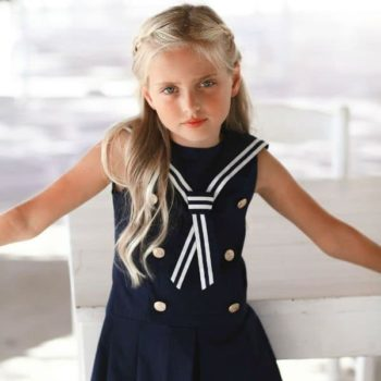 LAPIN HOUSE GIRLS NAVY BLUE SAILOR DRESS