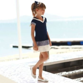 LAPIN HOUSE NAVY BLUE & WHITE DRESS