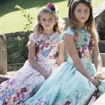 LESY GIRL PINK OR GREEN FLORAL TOP & SKIRT SET