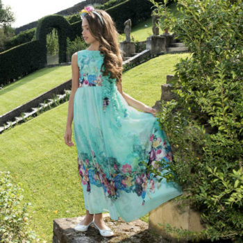 LESY GIRLS GREEN FLORAL CHIFFON PARTY DRESS