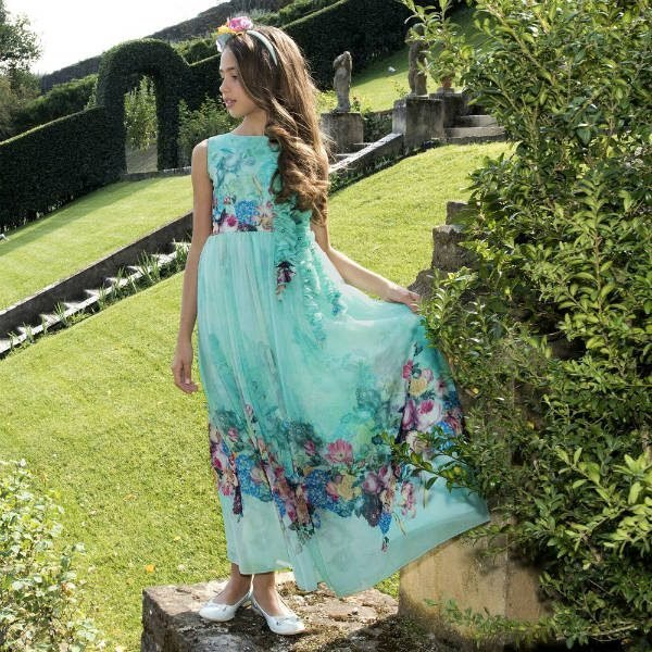 LESY Girls Green Floral Chiffon Party Dress for Spring Summer 2018