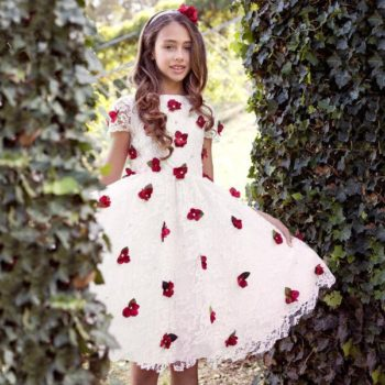 LESY GIRLS IVORY LACE & FLORAL PARTY DRESS