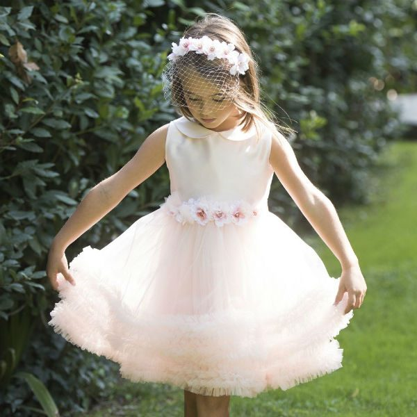 LESY Girls Pink Tulle Ruffle Party Dress for Spring Summer 2018