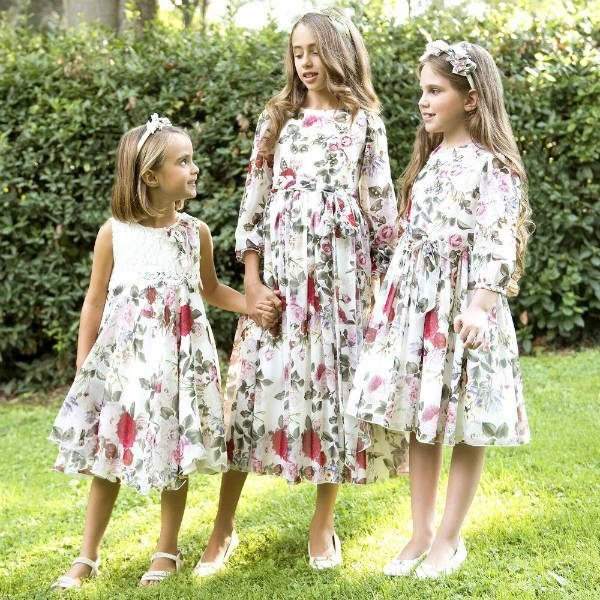 LESY Girls White Floral Print Lace Party Dress for Spring Summer 2018