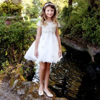 LESY LUXURY GIRLS IVORY & GOLD LACE PARTY DRESS