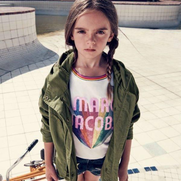 LITTLE MARC JACOBS Girls Khaki Green Parka Coat White Rainbow Tshirt Spring Summer 2018