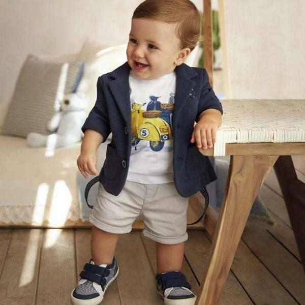 MAYORAL Baby Boy Navy Blue Jersey Blazer Khaki Shorts