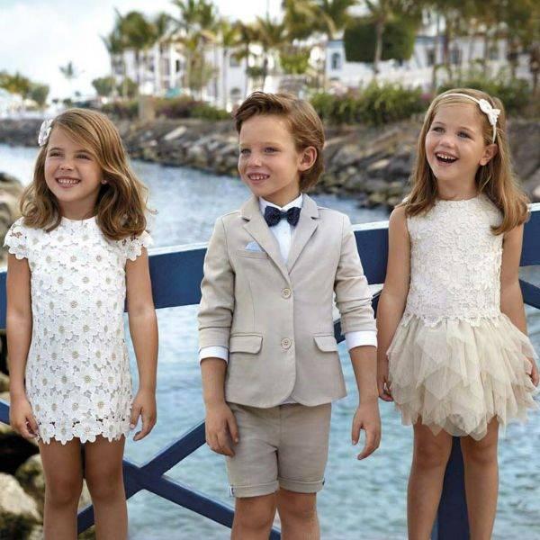 MAYORAL Boys Beige Cotton Blazer Girls White Floral Dress