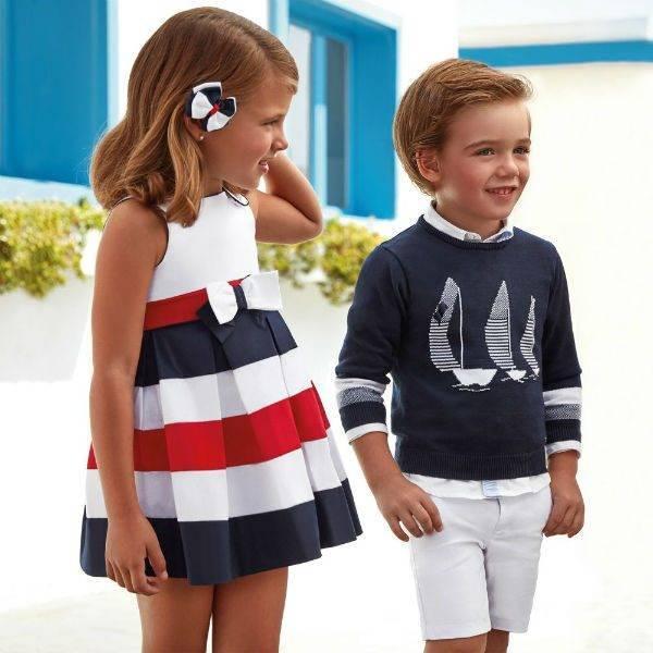 MAYORAL Boys Navy Blue Sailboat Sweater Girl Red White Blue Stripe Dress