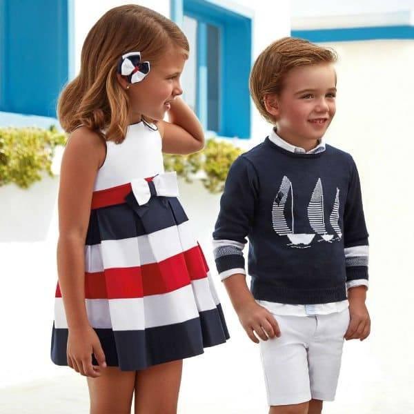 Mayoral Boys Blue Sailboat Sweater Girls Stripe Dress Dashin Fashion