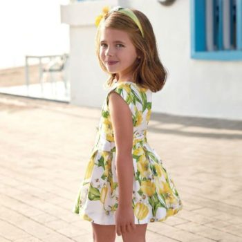 MAYORAL Girls Yellow & Ivory Floral Dress Spring Summer 2018
