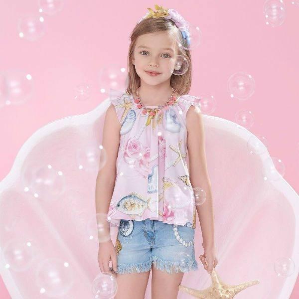 MONNALISA BIMBA Girls Sea Print Pink Shirt & Blue Denim Shorts for Spring Summer 2018
