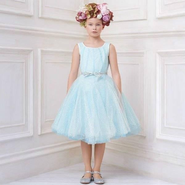 MONNALISA CHIC Blue Sequinned Tulle Dress Spring Summer 2018