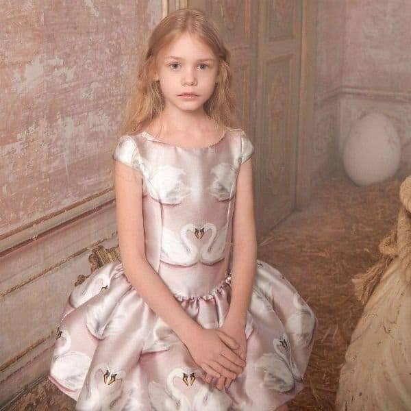 MONNALISA CHIC Girls Pink Swans Satin Dress Spring Summer 2018