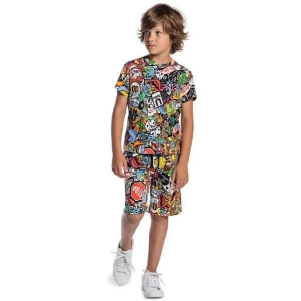 MOSCHINO KID-TEEN Boys Mini Me Printed Biker T-Shirt Shorts