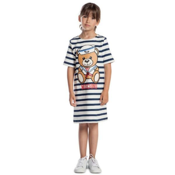 MOSCHINO KID-TEEN Girls Striped Teddy Dress Spring Summer 2018