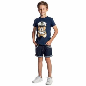 MOSCHINO KID-TEEN NAVY BLUE MINI ME TEDDY T-SHIRT & DENIM SHORTS
