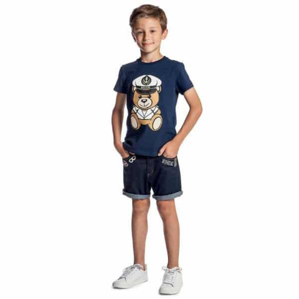 MOSCHINO KID-TEEN Navy Blue Mini Me Teddy T-Shirt & Denim Shorts