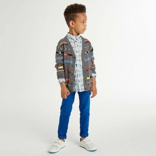 PAUL SMITH JUNIOR Boys Grey 'Roderick' Cardigan Blue 'Renzo' Shirt