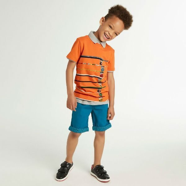 PAUL SMITH JUNIOR Boys Orange 'Relay' T-Shirt Blue 'Rudolf' Shorts