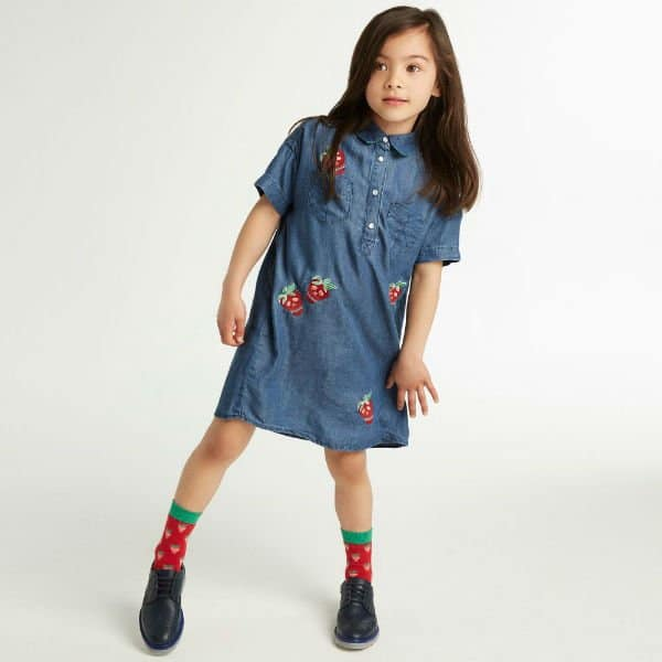 PAUL SMITH JUNIOR Girls Chambray Renata Strawberry Skull Shirt Dress