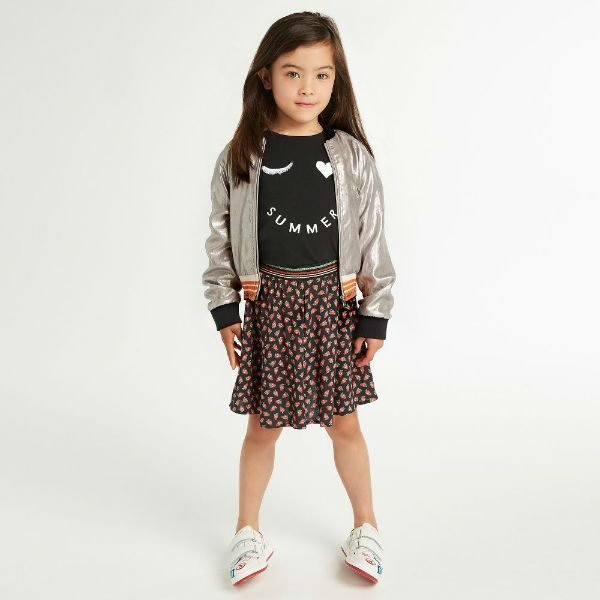 PAUL SMITH JUNIOR Girls Silver Rawen Jacket & Blue Rosange Strawberry Print Shorts