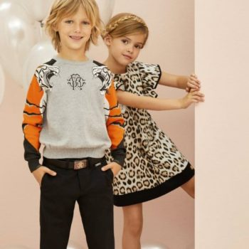 ROBERTO CAVALLI Boys Grey Tiger Sweater Girls Leopard Print Dress Spring Summer 2018