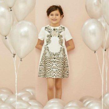 ROBERTO CAVALLI Girls Baroque Leopard Print Sateen Dress Spring Summer 2018