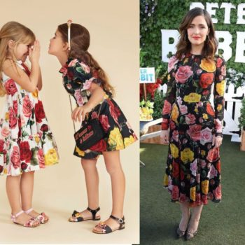 Rose Byrne Peter Rabbit Feb 2018 DOLCE & GABBANA Girls Mine Me Black Roses Dress