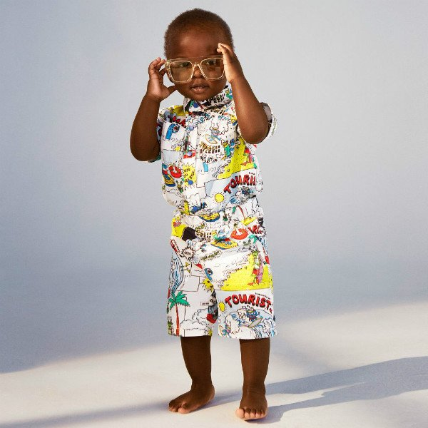 Stella McCartney Baby Boys Rowan Tourists Print Shirt & Loopie Print Pants for Spring Summer 2018