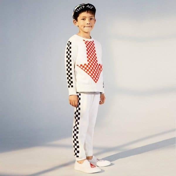 Stella McCartney Kids Boys Narrow Check Arrow Top Patch & Check Pants for Spring Summer 2018