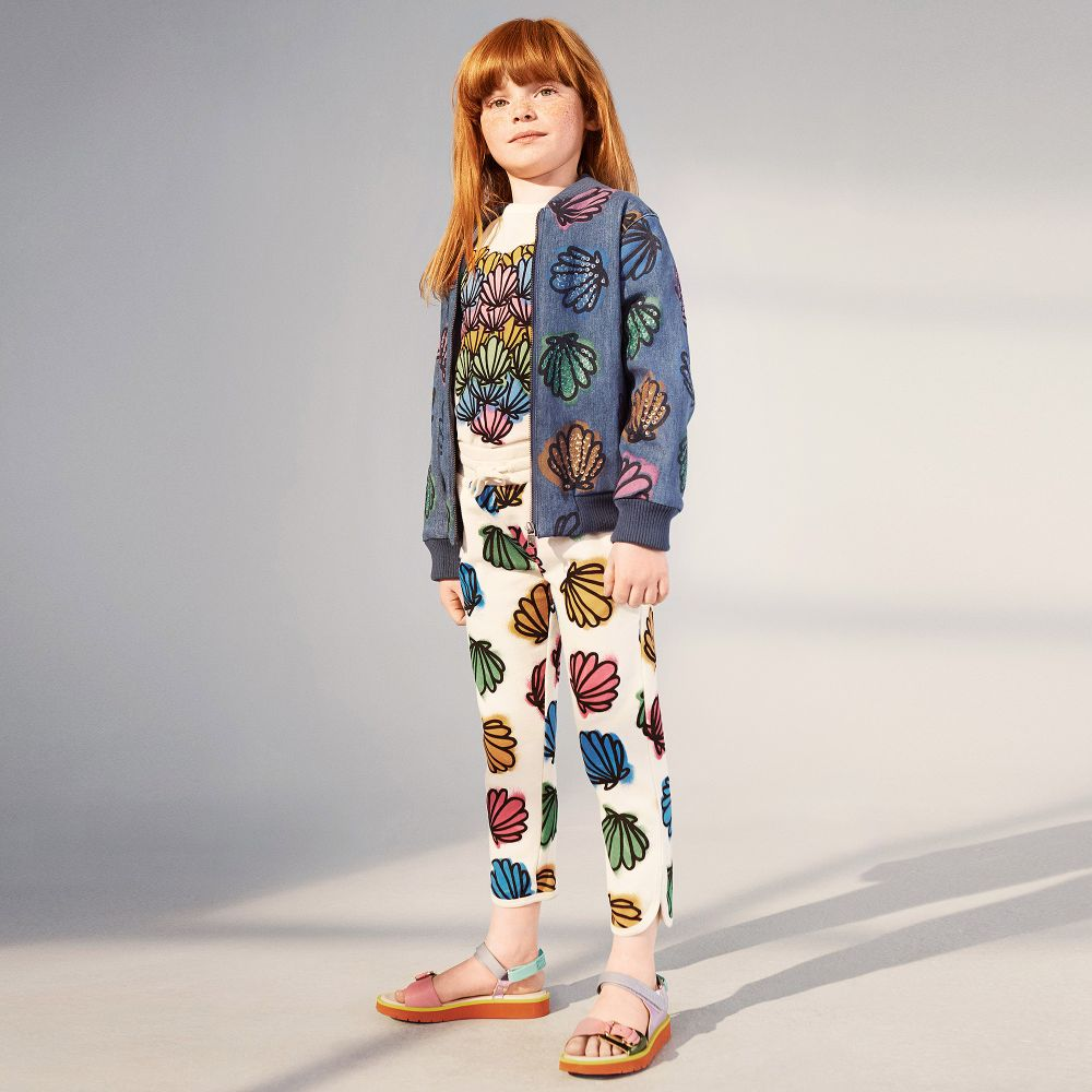 Stella McCartney Kids Girls Shells Print Sweatsuit Denim Jacket